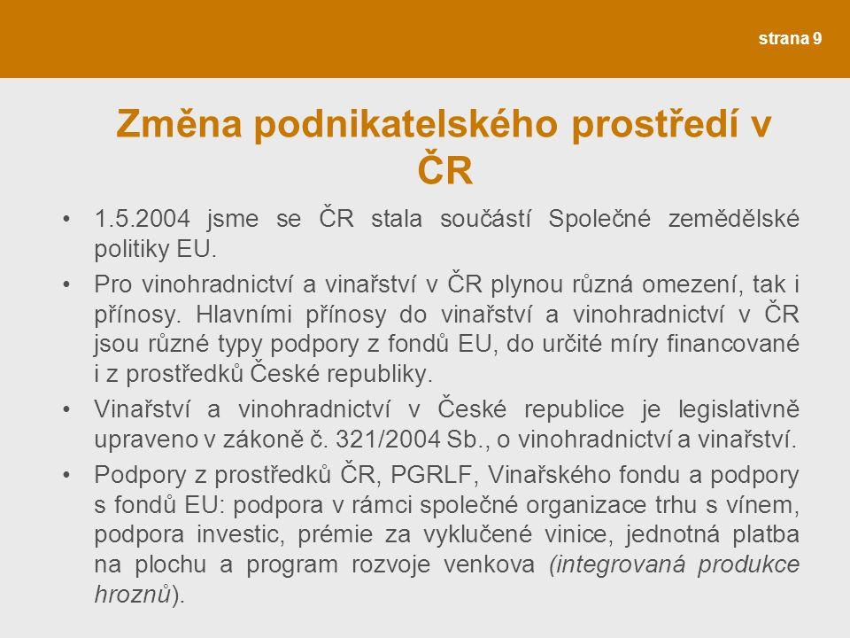 Změna podnikatelského prostředí v ČR 1.5.2004 jsme se ČR stala součástí Společné zemědělské politiky EU.