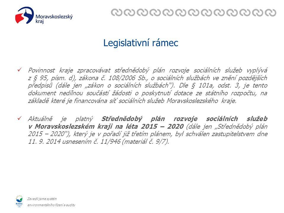 Zavedli jsme systém environmentálního řízení a auditu Legislativní rámec Povinnost kraje zpracovávat střednědobý plán rozvoje sociálních služeb vyplývá z § 95, písm.