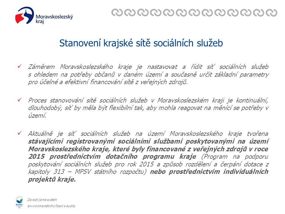 Zavedli jsme systém environmentálního řízení a auditu Stanovení krajské sítě sociálních služeb Záměrem Moravskoslezského kraje je nastavovat a řídit síť sociálních služeb s ohledem na potřeby občanů v daném území a současně určit základní parametry pro účelné a efektivní financování sítě z veřejných zdrojů.