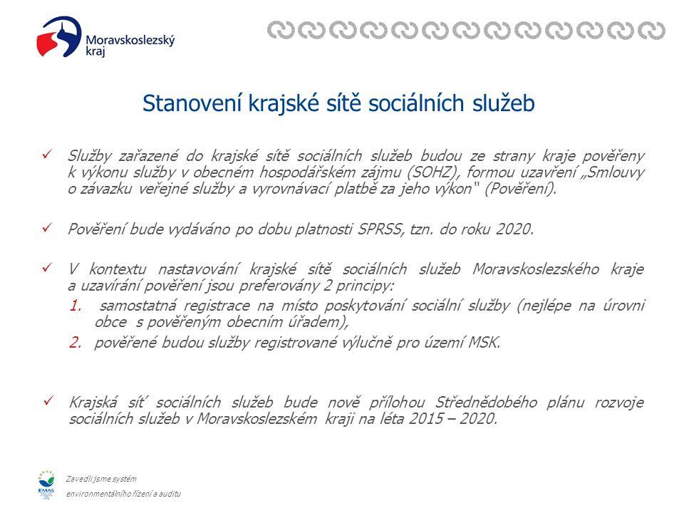 """Zavedli jsme systém environmentálního řízení a auditu Stanovení krajské sítě sociálních služeb Dle předpokladů MPSV má být pro služby v síti """"jednotné pověření k výkonu SOHZ (formou smlouvy o závazku veřejné služby) – přistoupení ostatních zadavatelů služeb (obce) a poskytovatelů finanční podpory k tomuto pověření (pověření na IČ a identifikátory)."""