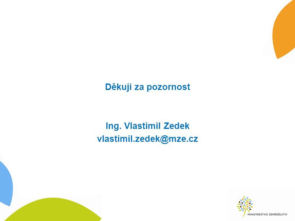 Děkuji za pozornost Ing. Vlastimil Zedek vlastimil.zedek@mze.cz