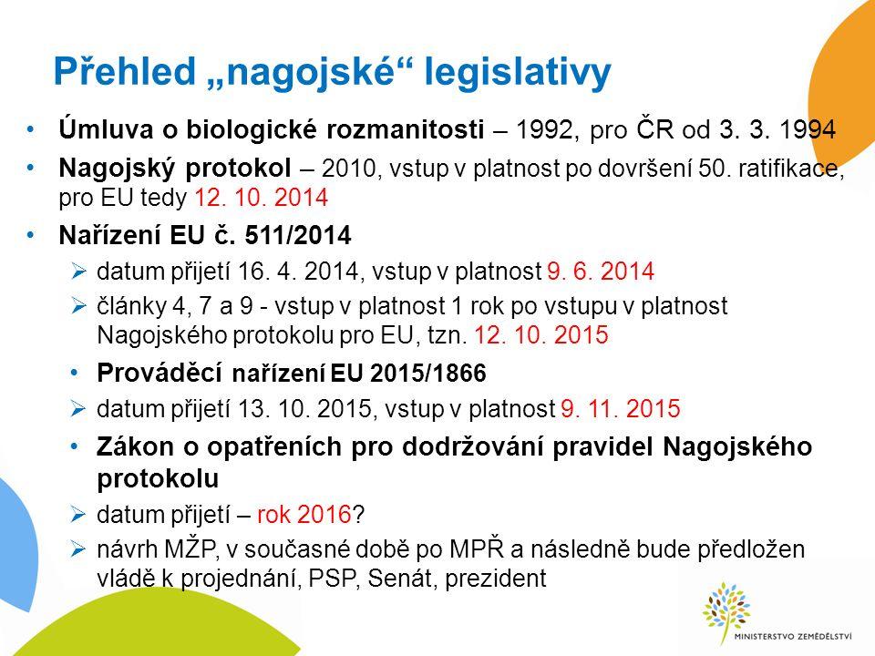 """Přehled """"nagojské legislativy Úmluva o biologické rozmanitosti – 1992, pro ČR od 3."""
