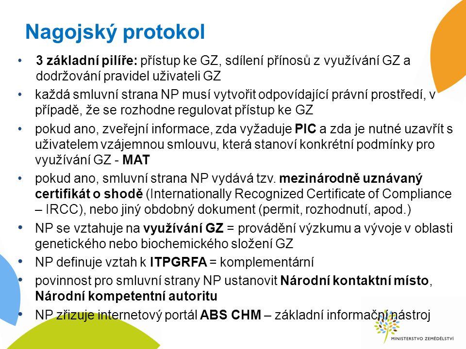 Nagojský protokol 3 základní pilíře: přístup ke GZ, sdílení přínosů z využívání GZ a dodržování pravidel uživateli GZ každá smluvní strana NP musí vytvořit odpovídající právní prostředí, v případě, že se rozhodne regulovat přístup ke GZ pokud ano, zveřejní informace, zda vyžaduje PIC a zda je nutné uzavřít s uživatelem vzájemnou smlouvu, která stanoví konkrétní podmínky pro využívání GZ - MAT pokud ano, smluvní strana NP vydává tzv.