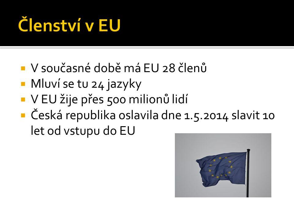  V současné době má EU 28 členů  Mluví se tu 24 jazyky  V EU žije přes 500 milionů lidí  Česká republika oslavila dne 1.5.2014 slavit 10 let od vs