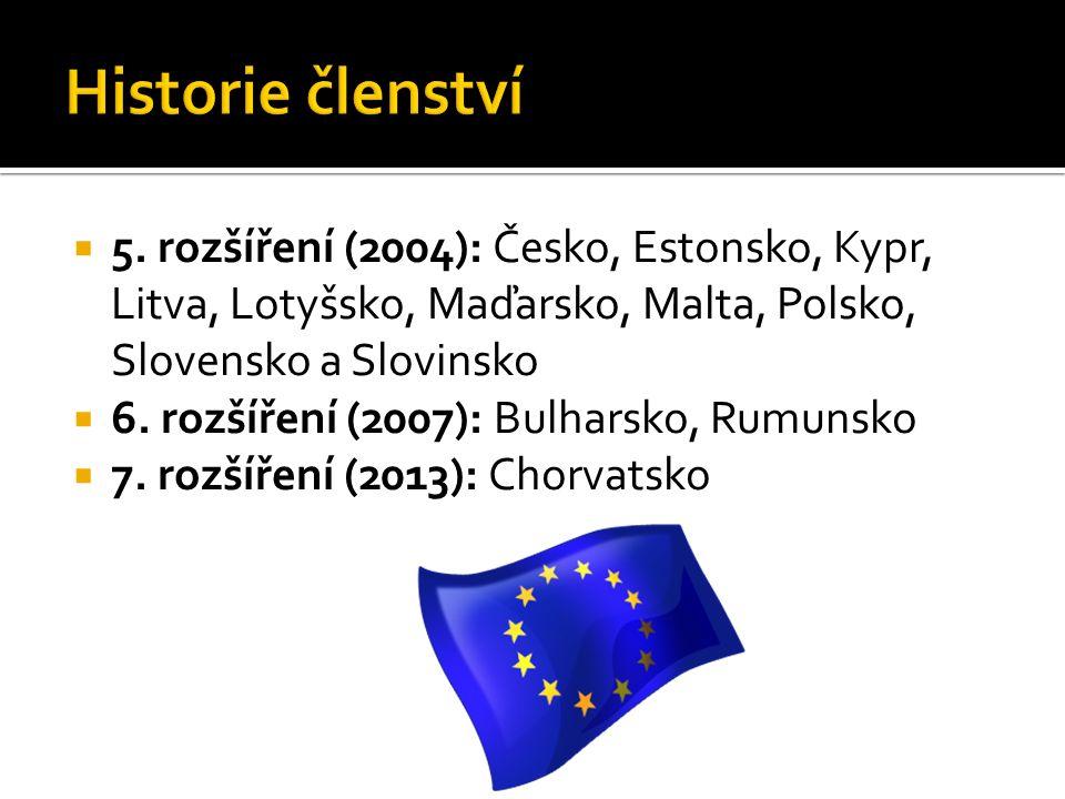  5. rozšíření (2004): Česko, Estonsko, Kypr, Litva, Lotyšsko, Maďarsko, Malta, Polsko, Slovensko a Slovinsko  6. rozšíření (2007): Bulharsko, Rumuns