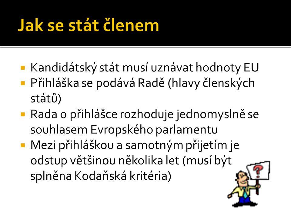  Kandidátský stát musí uznávat hodnoty EU  Přihláška se podává Radě (hlavy členských států)  Rada o přihlášce rozhoduje jednomyslně se souhlasem Evropského parlamentu  Mezi přihláškou a samotným přijetím je odstup většinou několika let (musí být splněna Kodaňská kritéria)