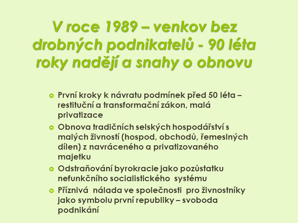 V roce 1989 – venkov bez drobných podnikatelů - 90 léta roky nadějí a snahy o obnovu  První kroky k návratu podmínek před 50 léta – restituční a transformační zákon, malá privatizace  Obnova tradičních selských hospodářství s malých živností (hospod, obchodů, řemeslných dílen) z navráceného a privatizovaného majetku  Odstraňování byrokracie jako pozůstatku nefunkčního socialistického systému  Příznivá nálada ve společnosti pro živnostníky jako symbolu první republiky – svoboda podnikání