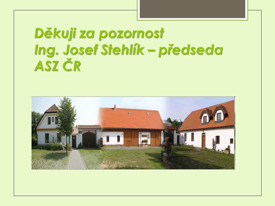 Děkuji za pozornost Ing. Josef Stehlík – předseda ASZ ČR