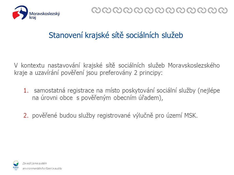 Zavedli jsme systém environmentálního řízení a auditu Stanovení krajské sítě sociálních služeb V kontextu nastavování krajské sítě sociálních služeb Moravskoslezského kraje a uzavírání pověření jsou preferovány 2 principy: 1.
