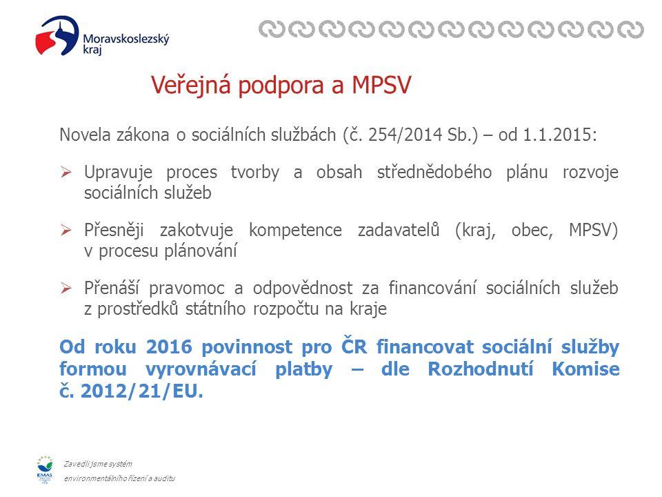 Zavedli jsme systém environmentálního řízení a auditu Veřejná podpora a MPSV Novela zákona o sociálních službách (č.