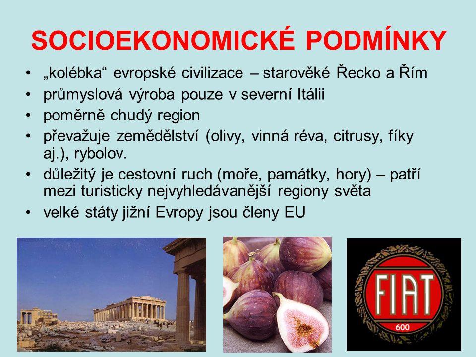 """SOCIOEKONOMICKÉ PODMÍNKY """"kolébka evropské civilizace – starověké Řecko a Řím průmyslová výroba pouze v severní Itálii poměrně chudý region převažuje zemědělství (olivy, vinná réva, citrusy, fíky aj.), rybolov."""