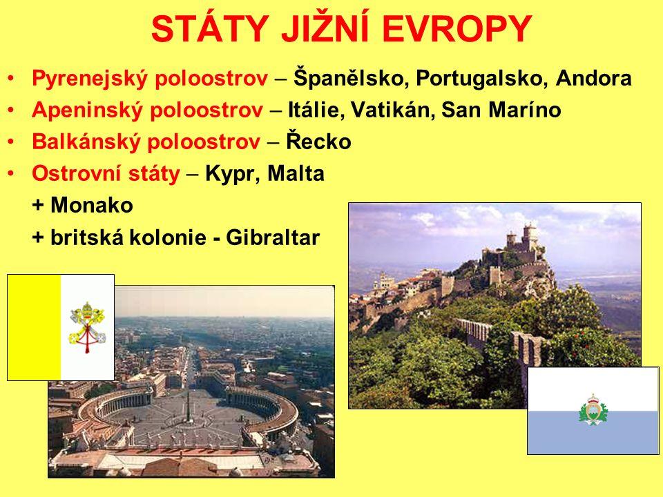 STÁTY JIŽNÍ EVROPY Pyrenejský poloostrov – Španělsko, Portugalsko, Andora Apeninský poloostrov – Itálie, Vatikán, San Maríno Balkánský poloostrov – Řecko Ostrovní státy – Kypr, Malta + Monako + britská kolonie - Gibraltar
