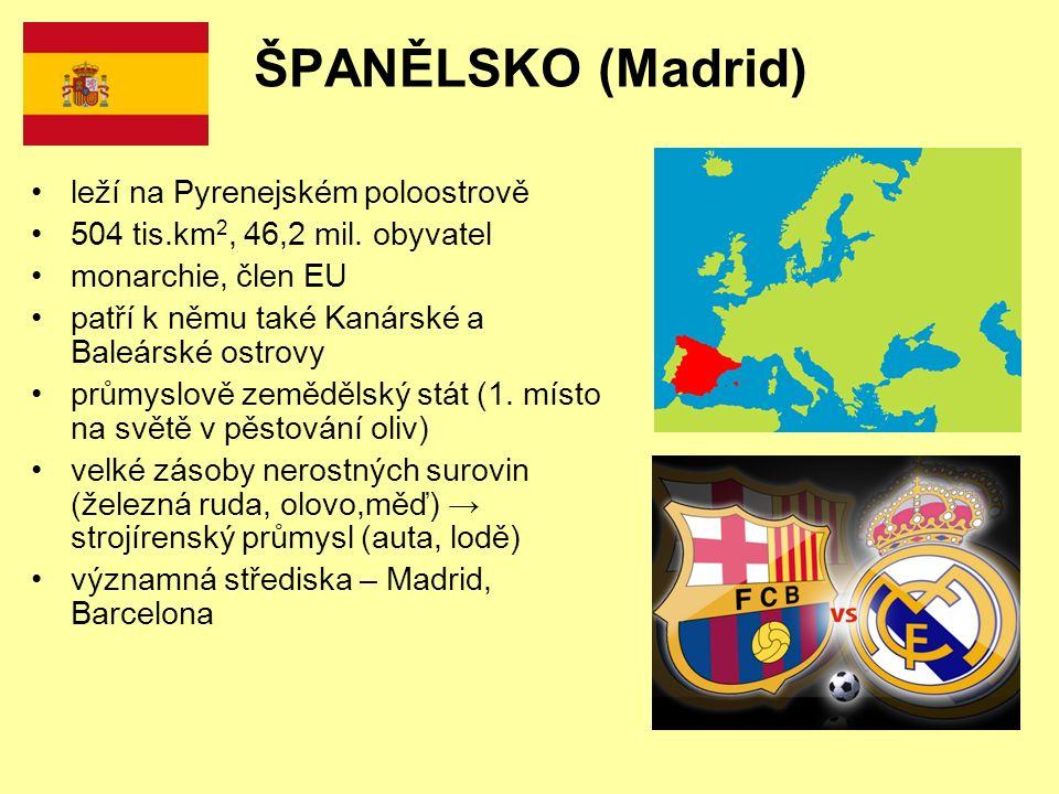 ŠPANĚLSKO (Madrid) leží na Pyrenejském poloostrově 504 tis.km 2, 46,2 mil.