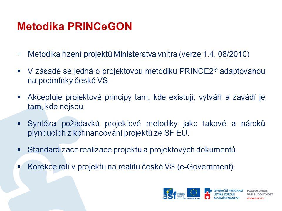 Metodika PRINCeGON = Metodika řízení projektů Ministerstva vnitra (verze 1.4, 08/2010)  V zásadě se jedná o projektovou metodiku PRINCE2 ® adaptovanou na podmínky české VS.