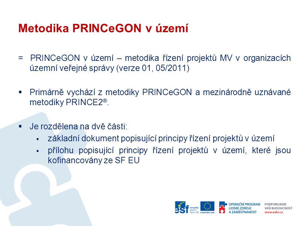 Metodika PRINCeGON v území = PRINCeGON v území – metodika řízení projektů MV v organizacích územní veřejné správy (verze 01, 05/2011)  Primárně vychází z metodiky PRINCeGON a mezinárodně uznávané metodiky PRINCE2 ®.