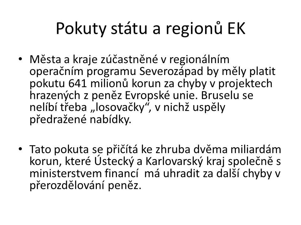 Pokuty státu a regionů EK Města a kraje zúčastněné v regionálním operačním programu Severozápad by měly platit pokutu 641 milionů korun za chyby v projektech hrazených z peněz Evropské unie.
