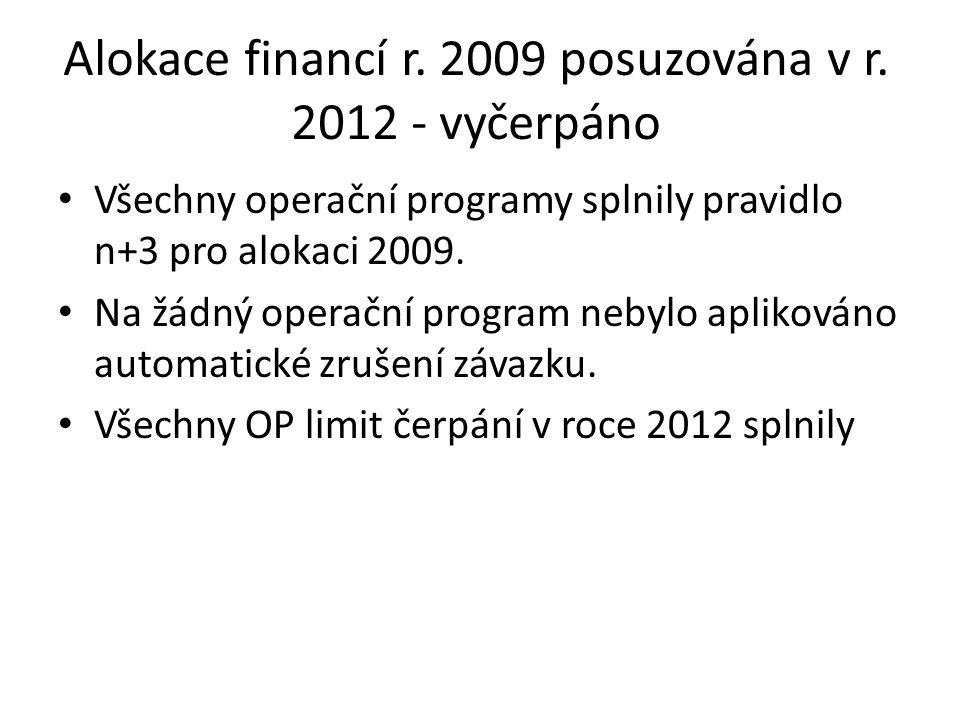 Alokace financí r. 2009 posuzována v r.