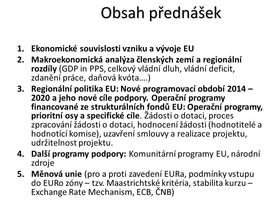 1.Ekonomické souvislosti vzniku a vývoje EU 2.Makroekonomická analýza členských zemí a regionální rozdíly (GDP in PPS, celkový vládní dluh, vládní deficit, zdanění práce, daňová kvóta….) 3.Regionální politika EU: Nové programovací období 2014 – 2020 a jeho nové cíle podpory.