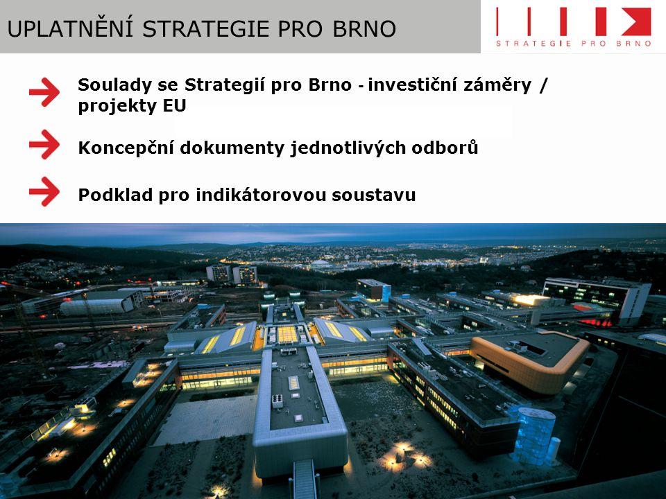UPLATNĚNÍ STRATEGIE PRO BRNO Soulady se Strategií pro Brno - investiční záměry / projekty EU Koncepční dokumenty jednotlivých odborů Podklad pro indikátorovou soustavu