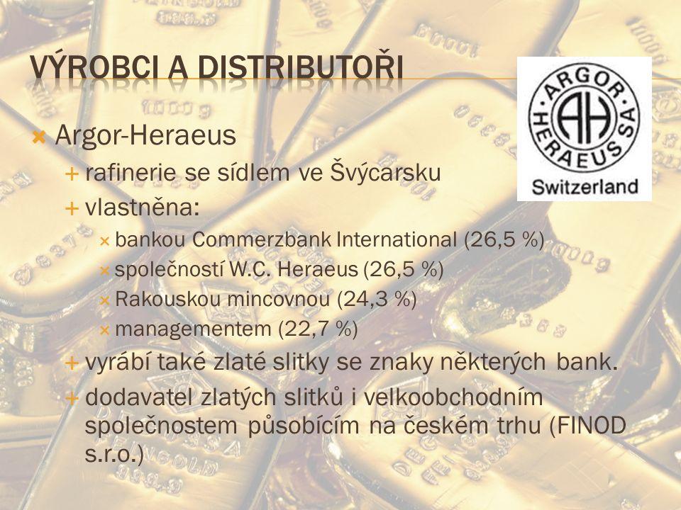  Argor-Heraeus  rafinerie se sídlem ve Švýcarsku  vlastněna:  bankou Commerzbank International (26,5 %)  společností W.C.