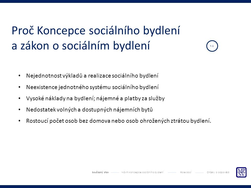 Fungování systému sociálního bydlení Současný stav Návrh koncepce sociálního bydlení Role obcí Otázky a odpovědi