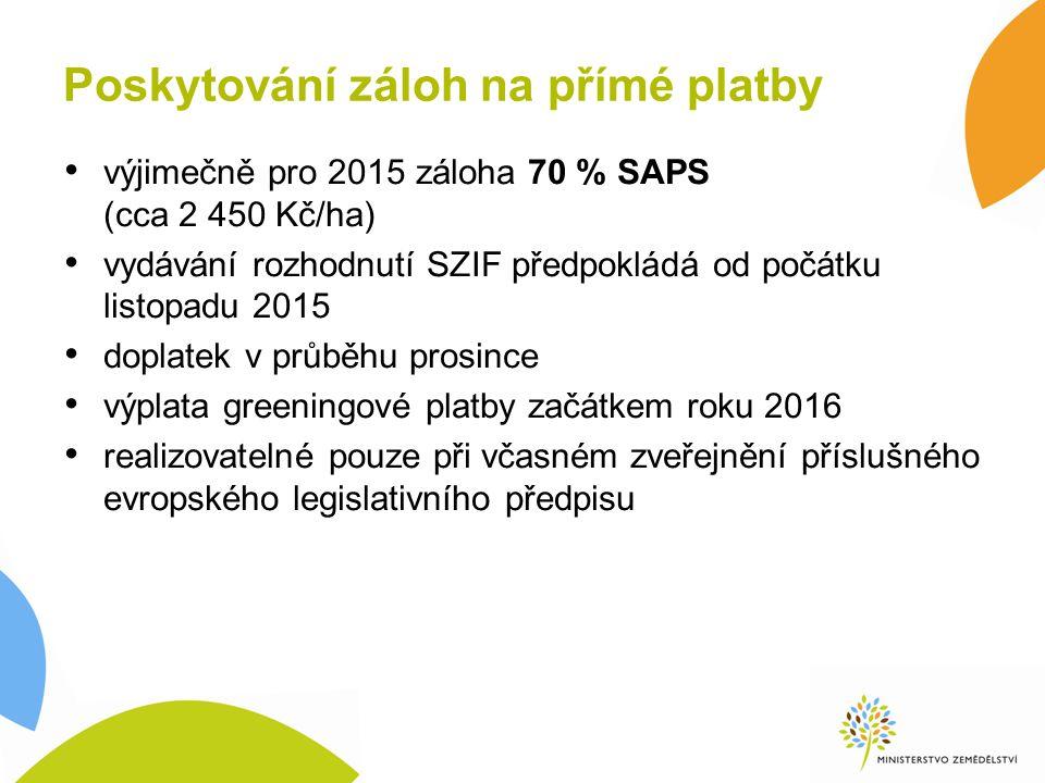 Poskytování záloh na přímé platby výjimečně pro 2015 záloha 70 % SAPS (cca 2 450 Kč/ha) vydávání rozhodnutí SZIF předpokládá od počátku listopadu 2015 doplatek v průběhu prosince výplata greeningové platby začátkem roku 2016 realizovatelné pouze při včasném zveřejnění příslušného evropského legislativního předpisu