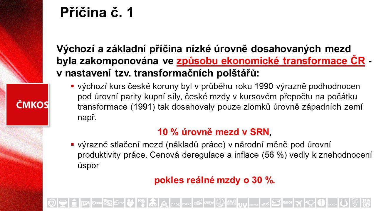 Příčina č. 1 Výchozí a základní příčina nízké úrovně dosahovaných mezd byla zakomponována ve způsobu ekonomické transformace ČR - v nastavení tzv. tra
