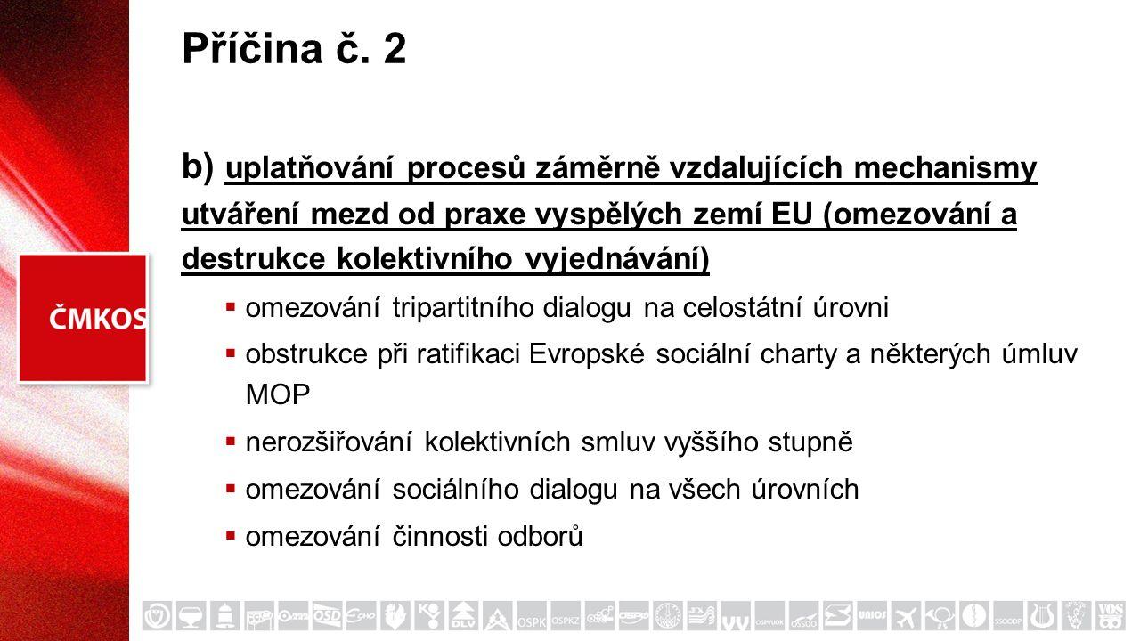 Příčina č. 2 b) uplatňování procesů záměrně vzdalujících mechanismy utváření mezd od praxe vyspělých zemí EU (omezování a destrukce kolektivního vyjed