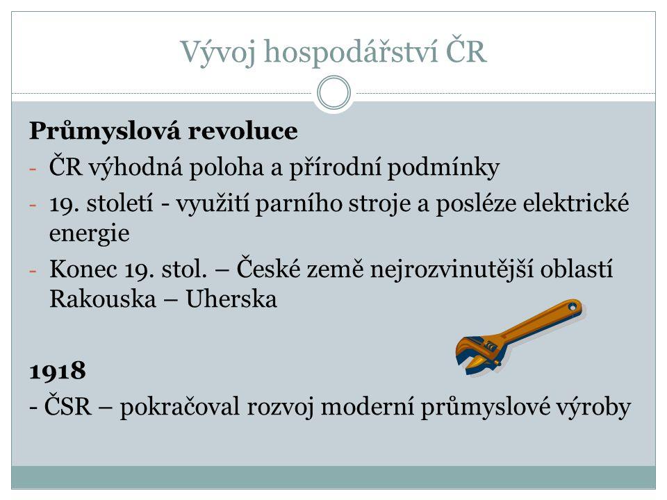 Vývoj hospodářství ČR Průmyslová revoluce - ČR výhodná poloha a přírodní podmínky - 19.