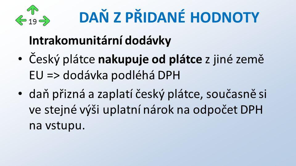 Intrakomunitární dodávky Český plátce nakupuje od plátce z jiné země EU => dodávka podléhá DPH daň přizná a zaplatí český plátce, současně si ve stejné výši uplatní nárok na odpočet DPH na vstupu.