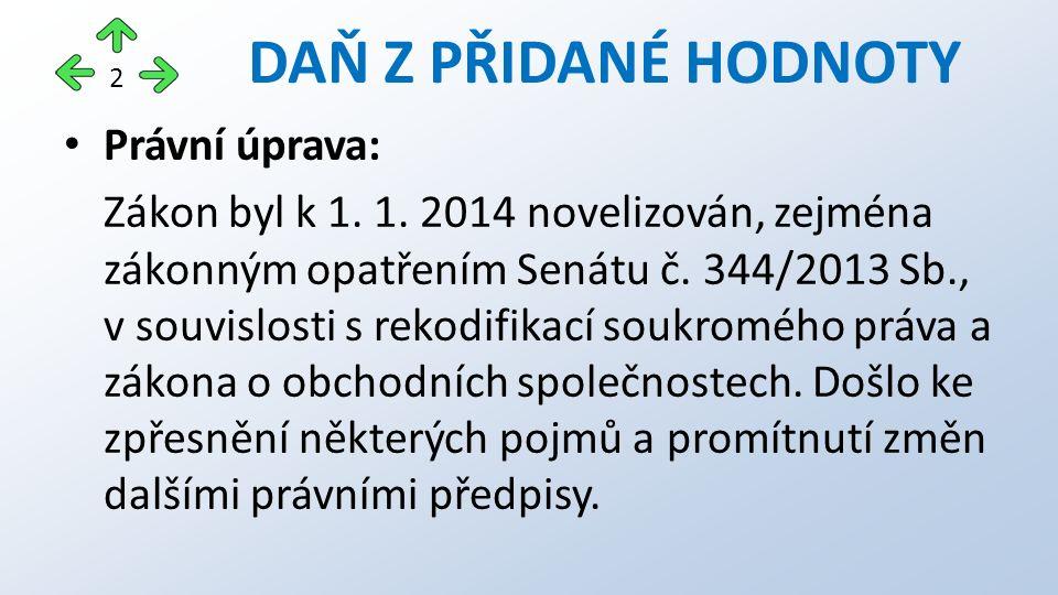 Právní úprava: Zákon byl k 1. 1. 2014 novelizován, zejména zákonným opatřením Senátu č.