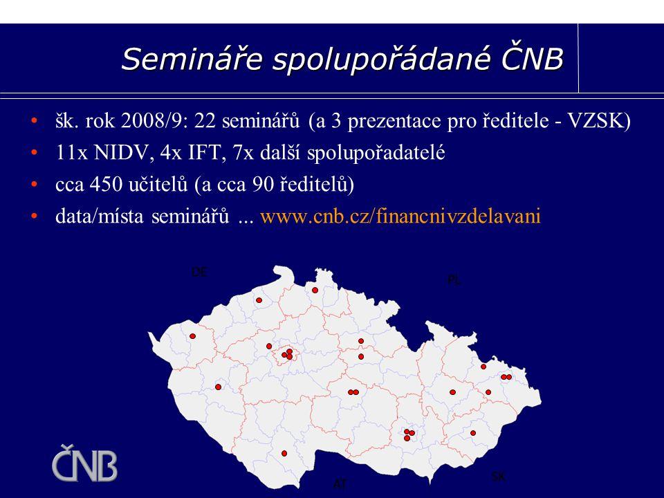šk. rok 2008/9: 22 seminářů (a 3 prezentace pro ředitele - VZSK) 11x NIDV, 4x IFT, 7x další spolupořadatelé cca 450 učitelů (a cca 90 ředitelů) data/m