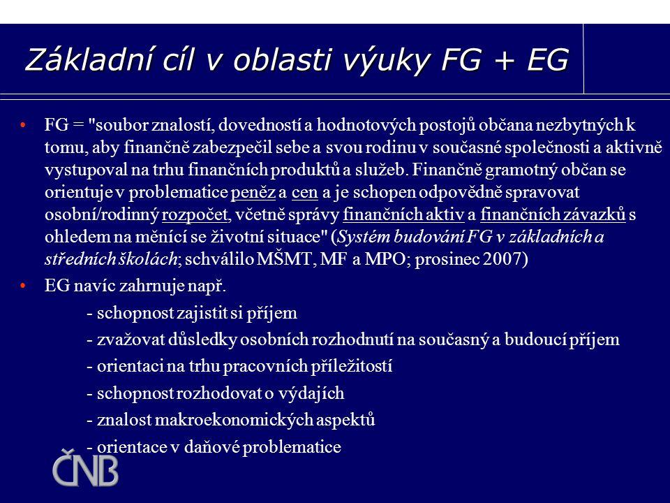 FG = soubor znalostí, dovedností a hodnotových postojů občana nezbytných k tomu, aby finančně zabezpečil sebe a svou rodinu v současné společnosti a aktivně vystupoval na trhu finančních produktů a služeb.