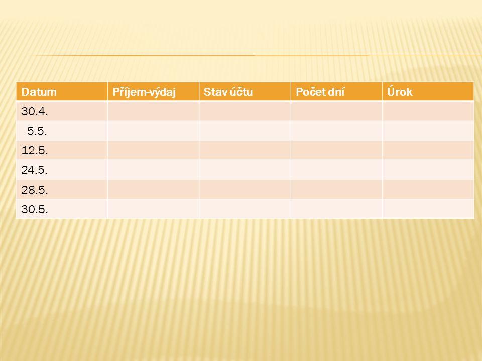 DatumPříjem-výdajStav účtuPočet dníÚrok 30.4. 5.5. 12.5. 24.5. 28.5. 30.5.