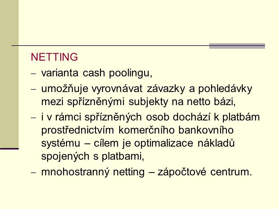 NETTING  varianta cash poolingu,  umožňuje vyrovnávat závazky a pohledávky mezi spřízněnými subjekty na netto bázi,  i v rámci spřízněných osob dochází k platbám prostřednictvím komerčního bankovního systému – cílem je optimalizace nákladů spojených s platbami,  mnohostranný netting – zápočtové centrum.