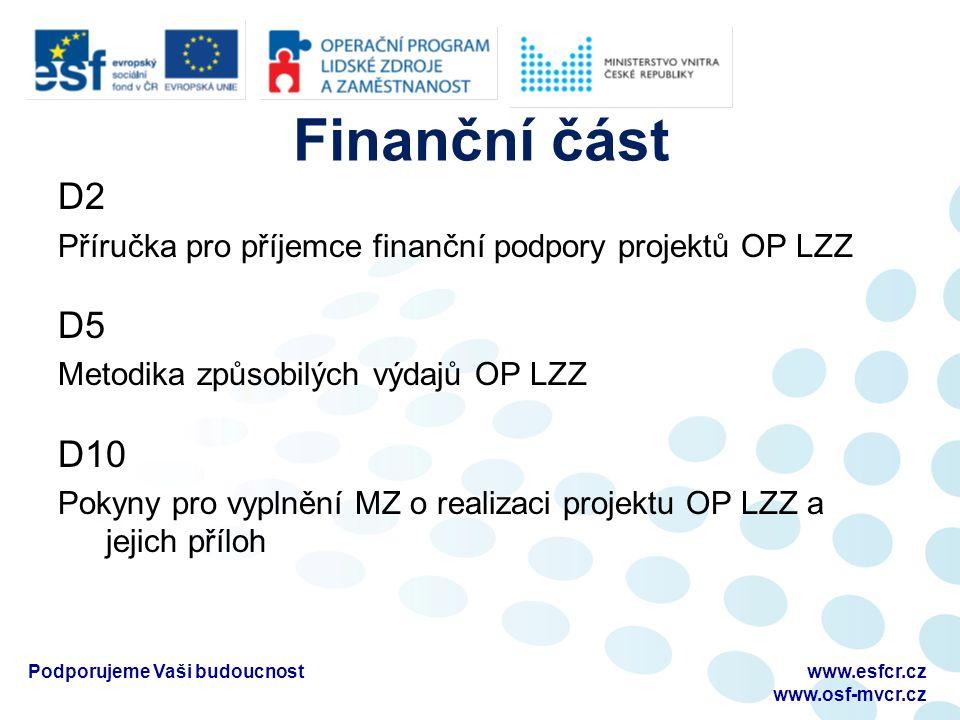 Finanční část D2 Příručka pro příjemce finanční podpory projektů OP LZZ D5 Metodika způsobilých výdajů OP LZZ D10 Pokyny pro vyplnění MZ o realizaci projektu OP LZZ a jejich příloh Podporujeme Vaši budoucnostwww.esfcr.cz www.osf-mvcr.cz