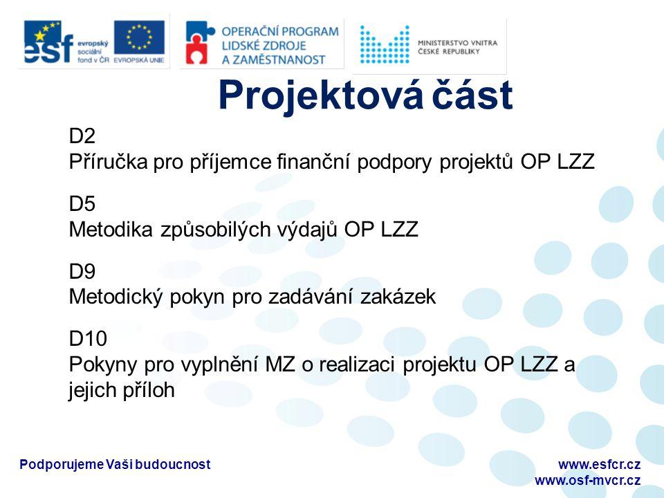 D2 Příručka pro příjemce finanční podpory projektů OP LZZ D5 Metodika způsobilých výdajů OP LZZ D9 Metodický pokyn pro zadávání zakázek D10 Pokyny pro vyplnění MZ o realizaci projektu OP LZZ a jejich příloh www.esfcr.cz www.osf-mvcr.cz Podporujeme Vaši budoucnost Projektová část