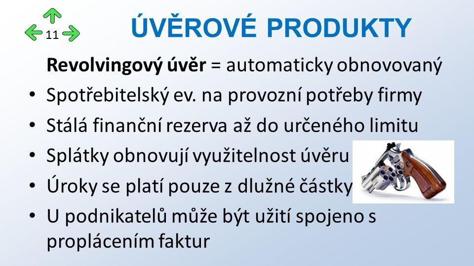 Revolvingový úvěr = automaticky obnovovaný Spotřebitelský ev. na provozní potřeby firmy Stálá finanční rezerva až do určeného limitu Splátky obnovují