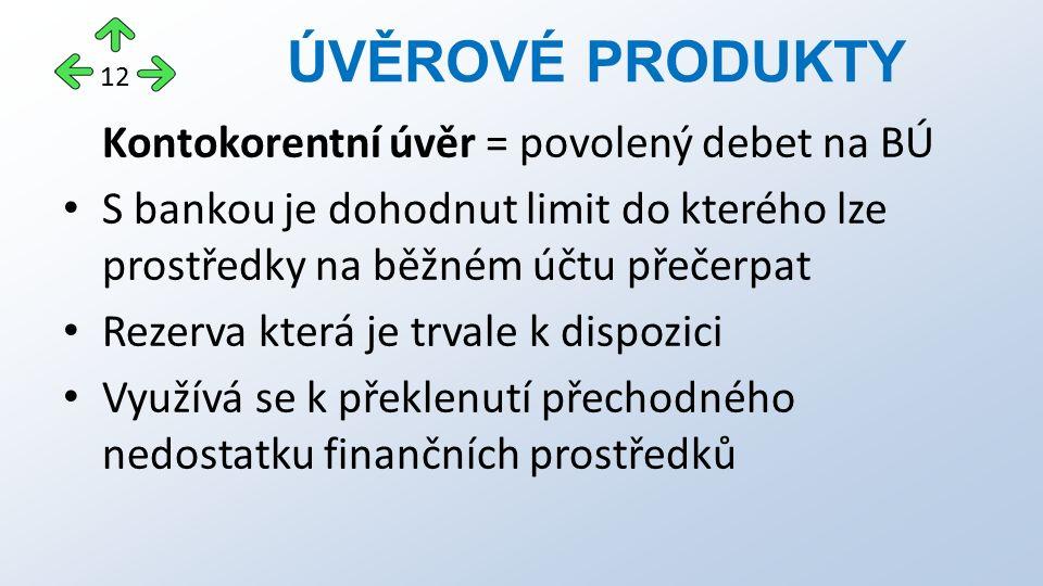 Kontokorentní úvěr = povolený debet na BÚ S bankou je dohodnut limit do kterého lze prostředky na běžném účtu přečerpat Rezerva která je trvale k disp