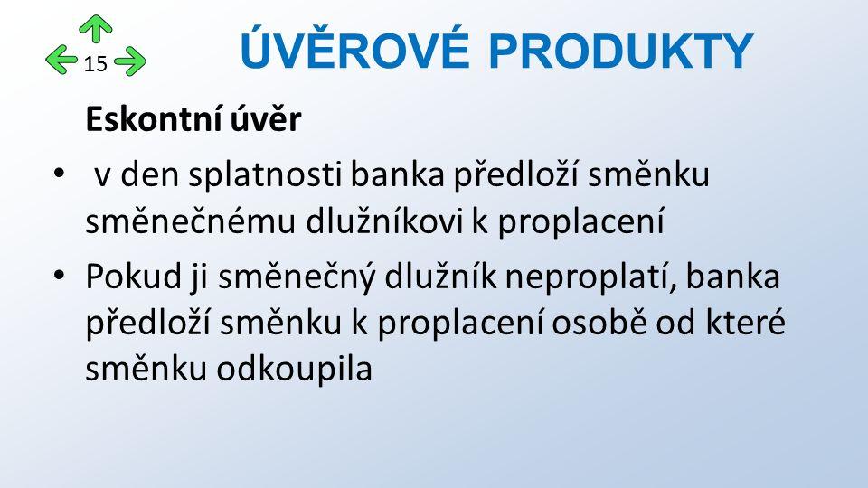 Eskontní úvěr v den splatnosti banka předloží směnku směnečnému dlužníkovi k proplacení Pokud ji směnečný dlužník neproplatí, banka předloží směnku k