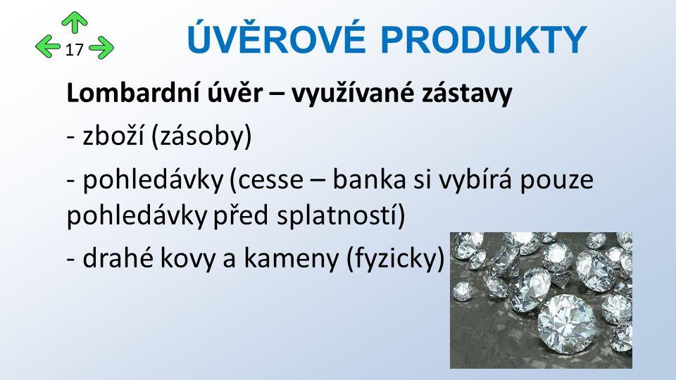 Lombardní úvěr – využívané zástavy - zboží (zásoby) - pohledávky (cesse – banka si vybírá pouze pohledávky před splatností) - drahé kovy a kameny (fyz