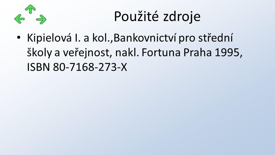 Kipielová I. a kol.,Bankovnictví pro střední školy a veřejnost, nakl. Fortuna Praha 1995, ISBN 80-7168-273-X Použité zdroje