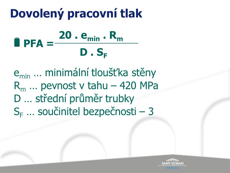 Dovolený pracovní tlak 20. e min. R m PFA = D.