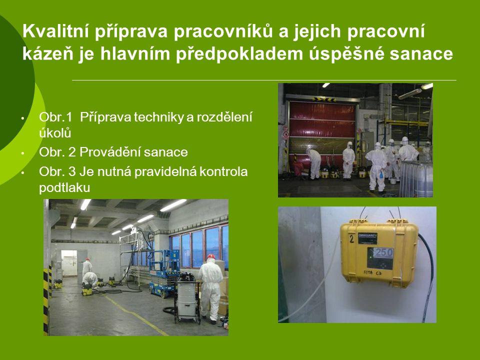Kvalitní příprava pracovníků a jejich pracovní kázeň je hlavním předpokladem úspěšné sanace Obr.1 Příprava techniky a rozdělení úkolů Obr. 2 Provádění