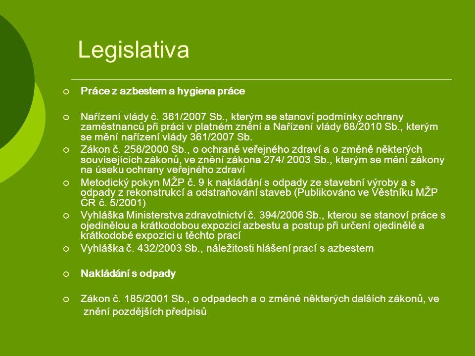 Legislativa  Práce z azbestem a hygiena práce  Nařízení vlády č. 361/2007 Sb., kterým se stanoví podmínky ochrany zaměstnanců při práci v platném zn