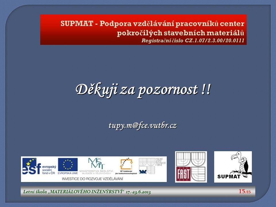 """Letní škola """"MATERIÁLOVÉHO INŽENÝRSTVÍ"""" 17.-23.6.2013 15 /15 Děkuji za pozornost !! tupy.m@fce.vutbr.cz SUPMAT - Podpora vzd ě lávání pracovník ů cent"""