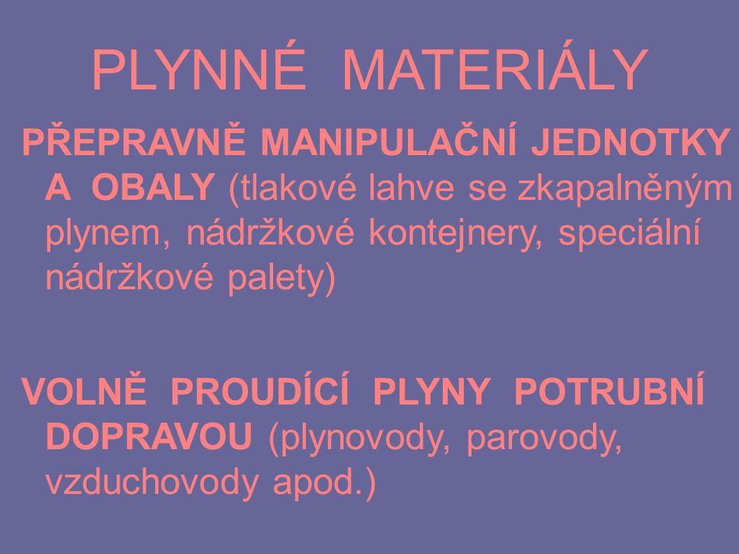 PLYNNÉ MATERIÁLY PŘEPRAVNĚ MANIPULAČNÍ JEDNOTKY A OBALY (tlakové lahve se zkapalněným plynem, nádržkové kontejnery, speciální nádržkové palety) VOLNĚ