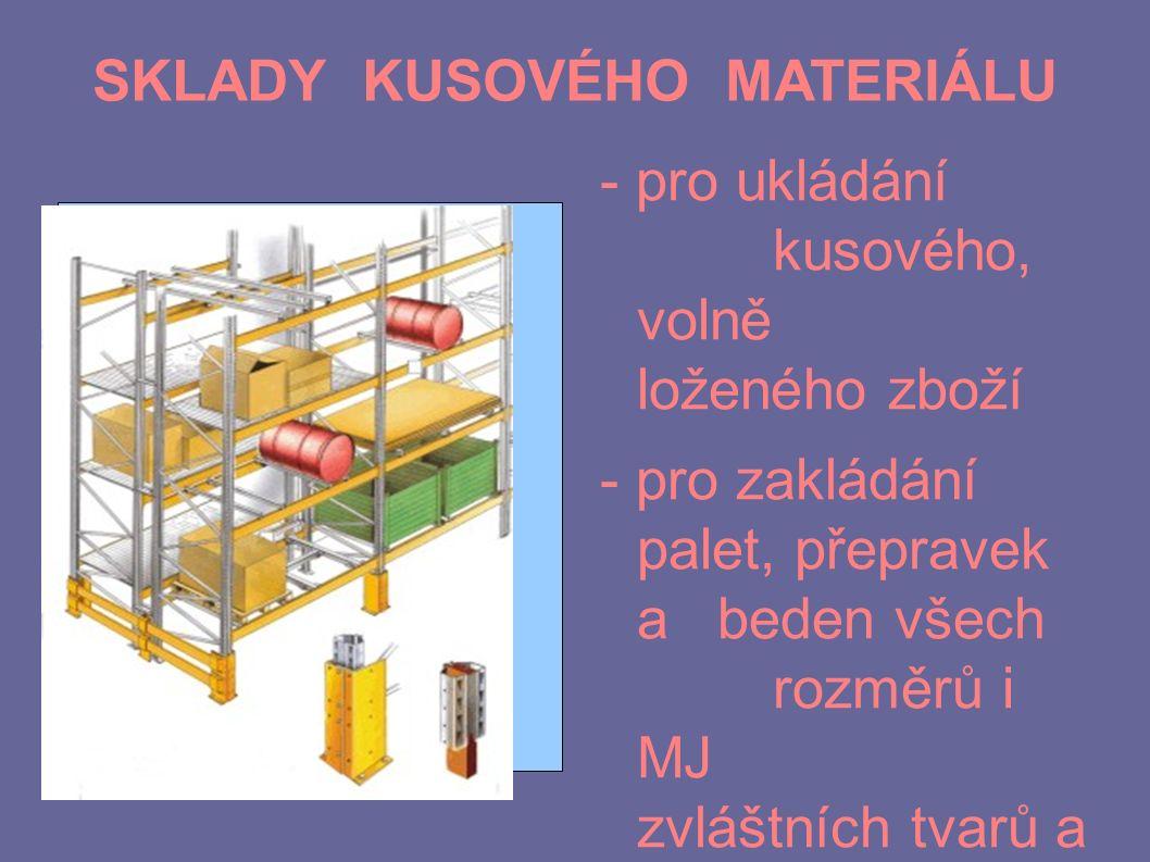 SKLADY KUSOVÉHO MATERIÁLU - pro ukládání kusového, volně loženého zboží - pro zakládání palet, přepravek a beden všech rozměrů i MJ zvláštních tvarů a velikostí (bubny, sudy, role, plechy)