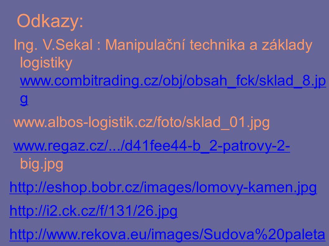 Odkazy: Ing. V.Sekal : Manipulační technika a základy logistiky www.combitrading.cz/obj/obsah_fck/sklad_8.jp g www.combitrading.cz/obj/obsah_fck/sklad