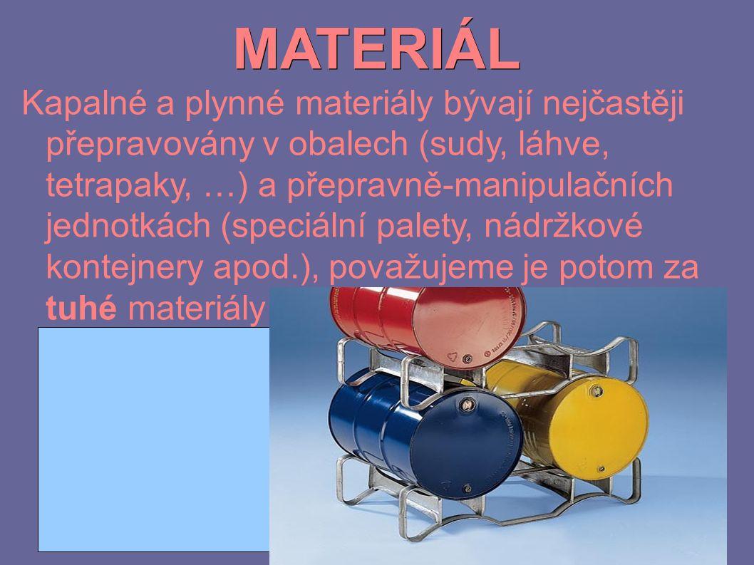 MATERIÁL Kapalné a plynné materiály bývají nejčastěji přepravovány v obalech (sudy, láhve, tetrapaky, …) a přepravně-manipulačních jednotkách (speciální palety, nádržkové kontejnery apod.), považujeme je potom za tuhé materiály